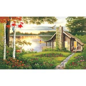 """Lafayette Puzzle Factory - """"Misty Lake Cottage"""" - 1000 piezas"""