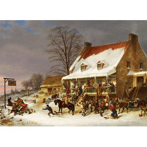"""Cobble Hill (51013) - Cornelius Krieghoff: """"Breaking up of a Country Ball"""" - 1000 piezas"""