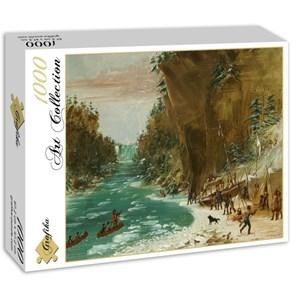 "Grafika (02225) - George Catlin: ""The Expedition Encamped below the Falls of Niagara. January 20, 1679, 1847-1848"" - 1000 piezas"