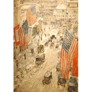"Grafika (00268) - Childe Hassam: ""Flags on 57th Street, Winter, 1918"" - 1000 piezas"
