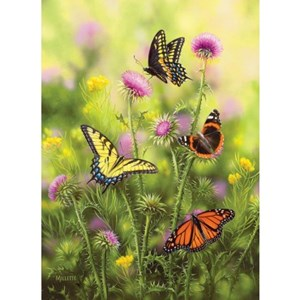 """SunsOut (30921) - Rosemary Millette: """"Butterflies and Thistle"""" - 500 piezas"""
