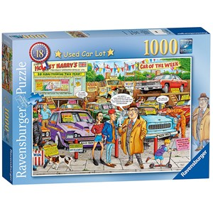 "Ravensburger (19692) - Geoffrey Tristram: ""#18 - Used Car Lot"" - 1000 piezas"