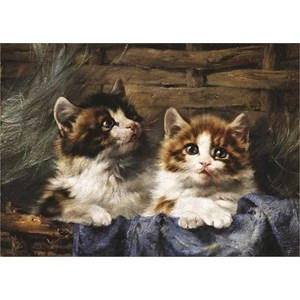 "Gold Puzzle (60683) - Julius Adam: ""Two Kittens in a Basket"" - 500 piezas"