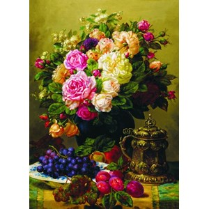 """Gold Puzzle (60904) - Jean-Baptiste Robie: """"Still Life with Roses, Grapes and Plums"""" - 1000 piezas"""