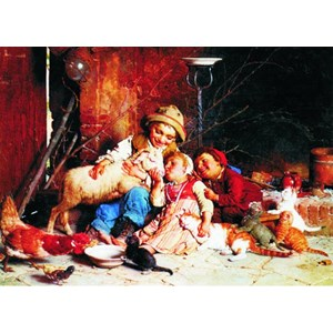 "Gold Puzzle (60270) - Gaetano Chierici: ""Farmyard Rascals"" - 1000 piezas"