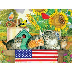 "SunsOut (71988) - Amy Rosenberg: ""Patriotic Kittens"" - 300 piezas"