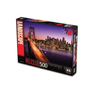 """KS Games (11376) - Brigitte Peyton: """"San Francisco Bridge at Sunset"""" - 500 piezas"""
