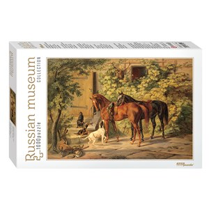 "Step Puzzle (79214) - Albrecht Adam: ""Horses at the Porch"" - 1000 piezas"