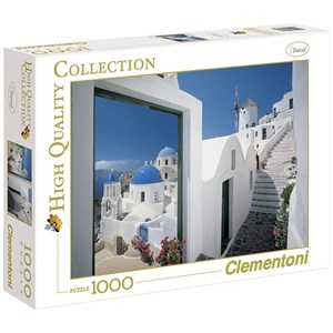"Clementoni (39163) - ""Little Greek Street, Santorini"" - 1000 piezas"