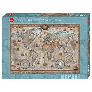"Heye (29871) - Rajko Zigic: ""Retro World Map"" - 1000 piezas"