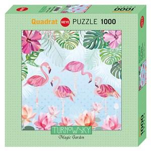 """Heye (29852) - Turnowsky: """"Flamingos & Lilies"""" - 1000 piezas"""