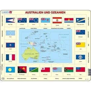 """Larsen (KL5-DE) - """"Map/Flag, Australia and Oceania (in German)"""" - 35 piezas"""