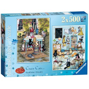 "Ravensburger (14075) - Linda Jane Smith: ""Crazy Cats Tea Time Treats"" - 500 piezas"