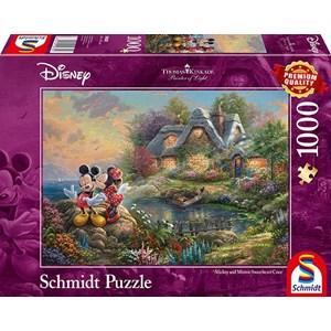 "Schmidt Spiele (59639) - Thomas Kinkade: ""Sweethearts Mickey & Minnie"" - 1000 piezas"