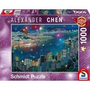 """Schmidt Spiele (59650) - Alexander Chen: """"Fireworks over Hong Kong"""" - 1000 piezas"""