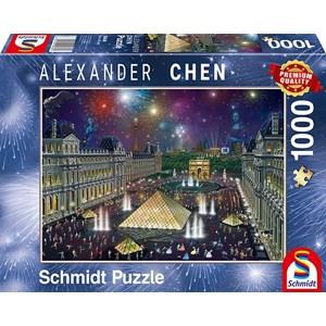 """Schmidt Spiele (59648) - Alexander Chen: """"Fireworks at the Louvre"""" - 1000 piezas"""