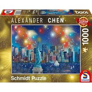 "Schmidt Spiele (59649) - Alexander Chen: ""Statue of Liberty with Fireworks"" - 1000 piezas"