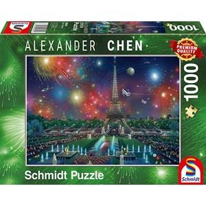 """Schmidt Spiele (59651) - Alexander Chen: """"Fireworks at the Eiffel Tower"""" - 1000 piezas"""
