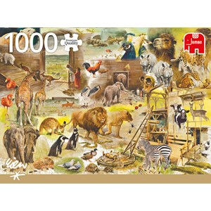 """Jumbo (18854) - Rien Poortvliet: """"Building Noah's Ark"""" - 1000 piezas"""