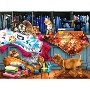 "SunsOut (28874) - Tom Wood: ""Quilting Room Mischief"" - 1000 piezas"