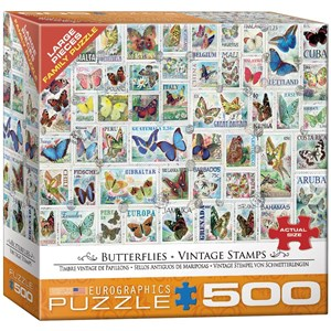 "Eurographics (8500-5356) - Barbara Behr: ""Butterflies Vintage Stamps"" - 500 piezas"