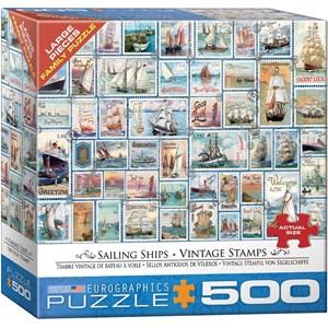 "Eurographics (8500-5357) - Barbara Behr: ""Sailing Ships Vintage Stamps"" - 500 piezas"