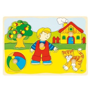 "Goki (57858) - ""GoKi Wooden Cat and House Puzzle"" - 5 piezas"