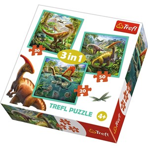 "Trefl (34837) - ""The extraordinary world of dinosaur"" - 20 36 50 piezas"