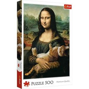 "Trefl (37294) - Leonardo Da Vinci: ""Mona Lisa and purring kitty"" - 500 piezas"