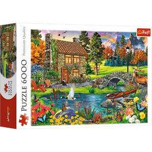 "Trefl (65006) - ""Cottage in the Mountains"" - 6000 piezas"