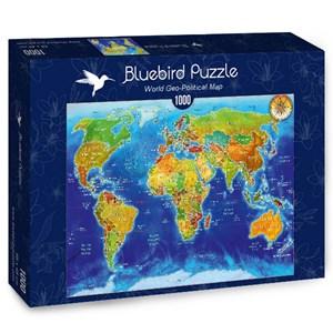 "Bluebird Puzzle (70337) - Adrian Chesterman: ""World Geo-Political Map"" - 1000 piezas"