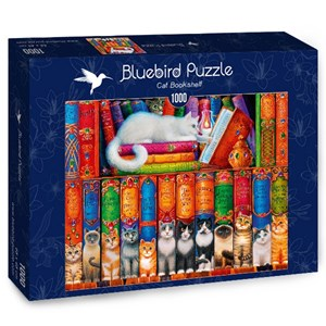 "Bluebird Puzzle (70344) - Randal Spangler: ""Cat Bookshelf"" - 1000 piezas"