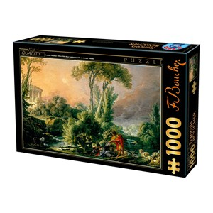 "D-Toys (74980) - François Boucher: ""River Landscape with an Antique Temple"" - 1000 piezas"