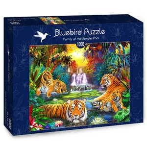 "Bluebird Puzzle (70155) - Jan Patrik Krasny: ""Family at the Jungle Pool"" - 1000 piezas"