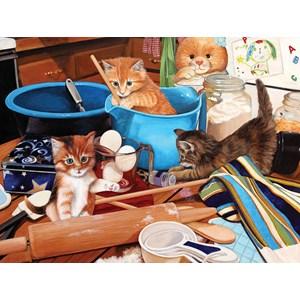 """SunsOut (67241) - Julie Bauknecht: """"Kittens in the Kitchen"""" - 1000 piezas"""