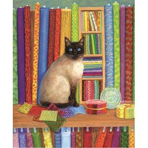 """SunsOut (31616) - Linda Elliott: """"Quilt Shop Cat"""" - 1000 piezas"""