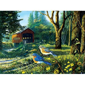 "SunsOut (71108) - Terry Doughty: ""Sleepy Hollow Blue Birds"" - 1000 piezas"