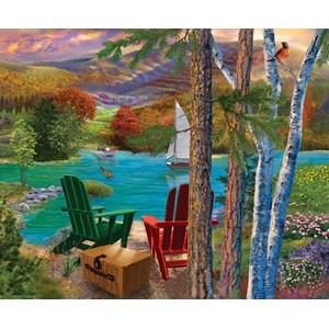"""SunsOut (31514) - Bigelow Illustrations: """"Lakeside View"""" - 1000 piezas"""