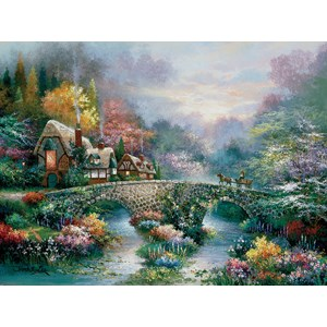 """SunsOut (18030) - James Lee: """"Peaceful Cottage"""" - 1000 piezas"""