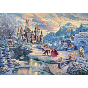 "Schmidt Spiele (59671) - Thomas Kinkade: ""Disney Beauty and the Beast Magical Winter Evening"" - 1000 piezas"