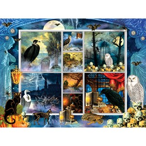 """SunsOut (55926) - Finchley Paper Arts: """"Halloween Stamps Spooky"""" - 1000 piezas"""