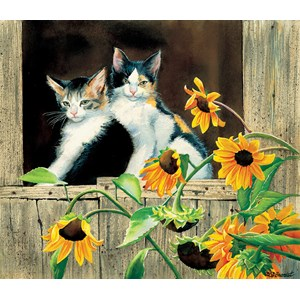 "SunsOut (28975) - Susan Bourdet: ""Kittens and Sunflowers"" - 550 piezas"