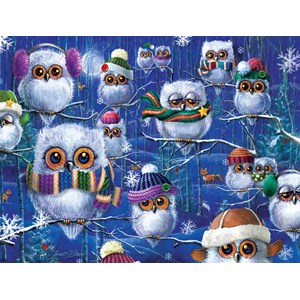 """SunsOut (63419) - Janet Stever: """"Night Owls with Hats"""" - 500 piezas"""