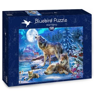"Bluebird Puzzle (70147) - Jan Patrik Krasny: ""Winter Wolf Family"" - 1500 piezas"