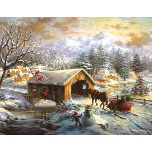 """SunsOut (19319) - Nicky Boehme: """"Over the Covered Bridge"""" - 1000 piezas"""