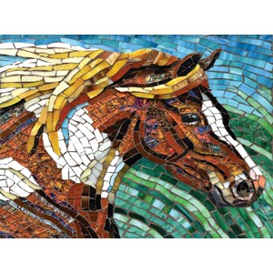 "SunsOut (70701) - Cynthie Fisher: ""Stained Glass Horse"" - 1000 piezas"