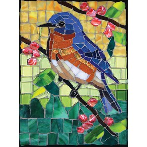 """SunsOut (70716) - Cynthie Fisher: """"Stained Glass Bluebird"""" - 1000 piezas"""