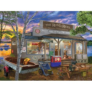 """SunsOut (31489) - Bigelow Illustrations: """"Rod and Reel"""" - 500 piezas"""