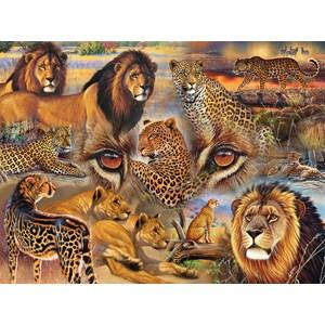 """SunsOut (70934) - Janet Stever: """"Big Cats of the Plains"""" - 500 piezas"""