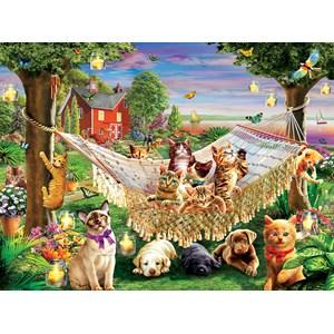 """SunsOut (51830) - """"Kittens Puppies and Butterflies"""" - 500 piezas"""